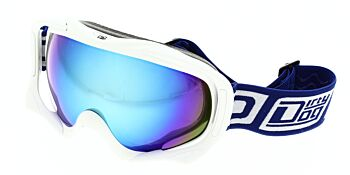 Dirty Dog Ski Goggle Out Rigger White Blue Fusion Mirror DD54184